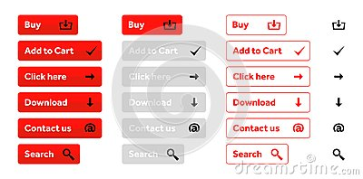 Red set of web buttons with icons
