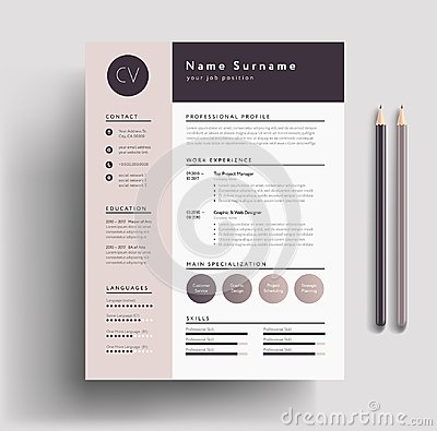 Beautiful CV / Resume template - elegant stylish design - dusty