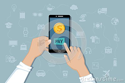 Online mobile payment, money transfer service. Pay for goods and services by cashless payments. Hand holding a phone with a coin