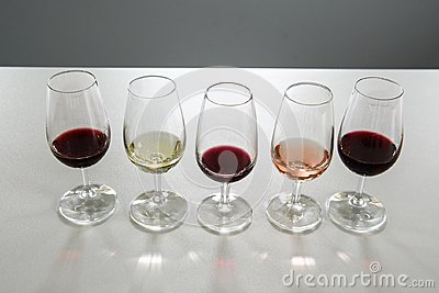 Wine glasses for wine tasting.