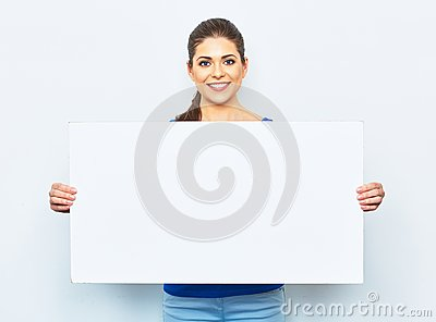 Young woman holding white blank signboard.