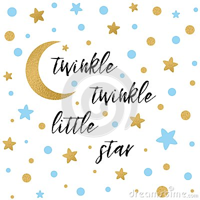 Twinkle twinkle little star text with gold blue star and moon for boy baby shower card template