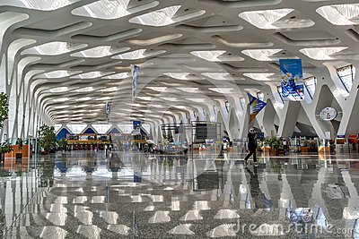 Marrakech airport insite September2016 Morocco View of the hall with its special architectural lines in the roof and the side of t