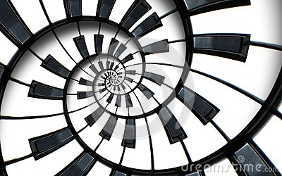 Unusual abstract piano keyboard spiral background fractal like endless staircase. Black and white piano keys screwed into round s