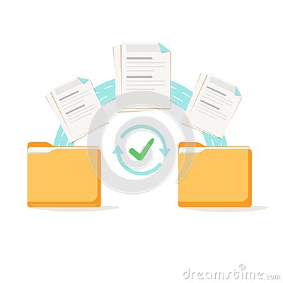 Data transfer, copying, uploading process, file sharing or sending documents from one file folder to another