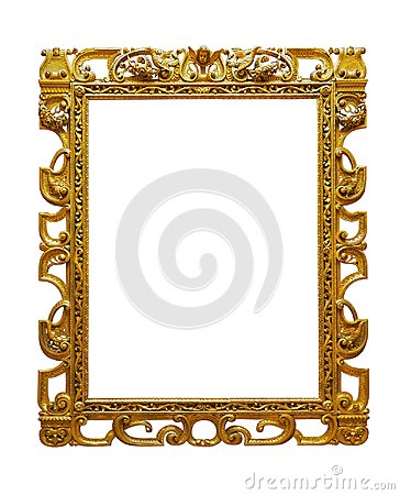Vintage openwork gold plated wooden frame on white background