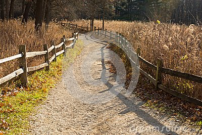 Nature path with splitrail fence at the Little Red Schoolhouse Nature Center