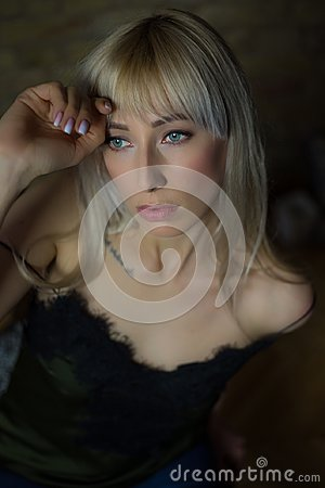 Beauty blonde with green eyes