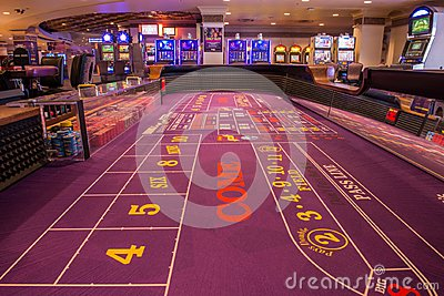 Player`s view of an idle crap table at Harrah`s Casino