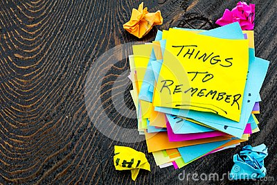 Things to remember sticky notes trash