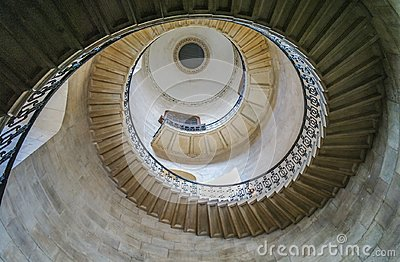 Looking up at the spiral staircase in Saint Paul`s cathedral, London