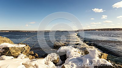 Spring landscape on the Ural river with a rollover, Russia