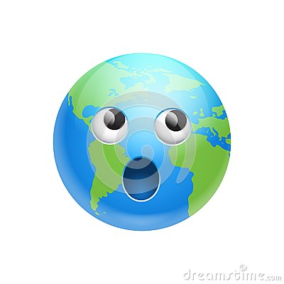 Cartoon Earth Face Screaming Emotion Icon Funny Planet Expression Isolated
