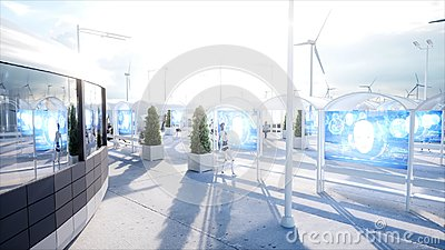 stock image of people and robots. sci fi station. futuristic monorail transport. concept of future. 3d rendering.