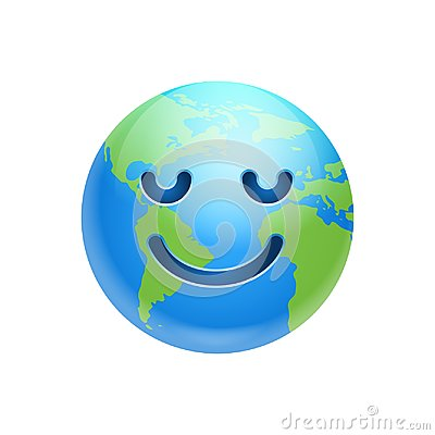 Cartoon Earth Face Smile With Closed Eyes Icon Funny Planet Emotion