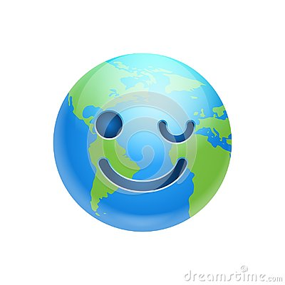 Cartoon Earth Face Happy Smile Winking Icon Funny Planet Emotion