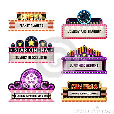 Old theater movie neo light signboards in 1930s retro style. Blank cinema and casino vector banners
