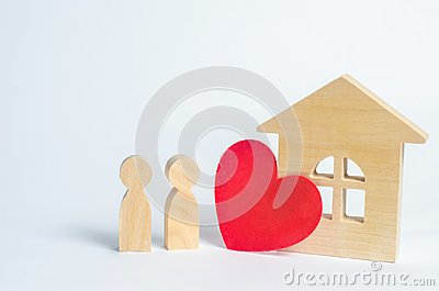 stock image of family and home love concept. house of lovers. affordable housing for young families. accommodation for lovers of couples.