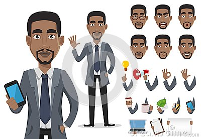 African American business man cartoon character creation set