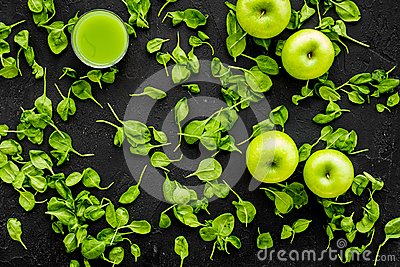 Apple, celeriac. Vegetables for greeny organic smoothy for sport diet on dark background top view mockup