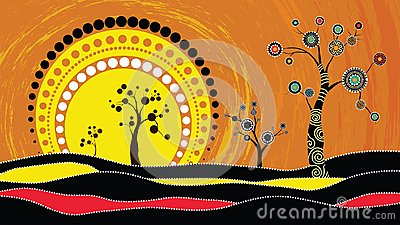 Tree on the hill, Aboriginal tree, Aboriginal art vector painting with tree and sun. Illustration based on aboriginal style of dot