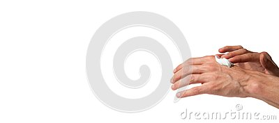 Male working hands put on a moisturize cream for soft skin isolated on a white background, beauty concept