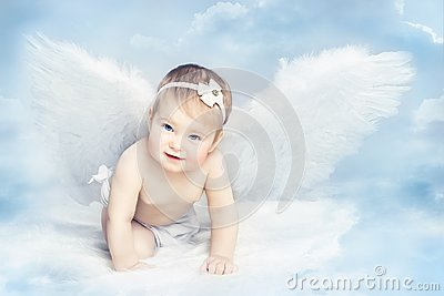 Angel Baby with Wings Crawling on Sky, Kid Girl Cupid, Newborn