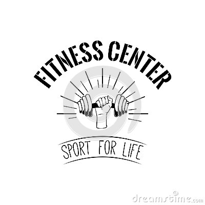Dumbbell. Fitness center logo. Hand holding weight. Train badge. Sport icon. Vector.