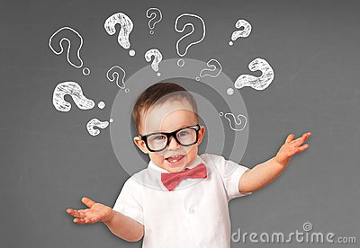 Portrait of male toddler with questions