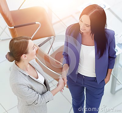 Business people handshake in modern office. Greeting deal concep