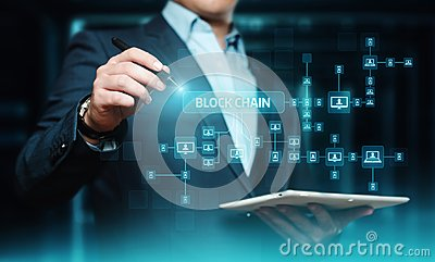 stock image of blockchain encryption blocks security finance fintech network internet technology concept