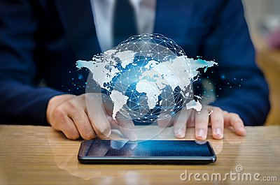 Global Communications Map Binary Smart Phones and Globe Connections Uncommon communication world Internet Business people press th