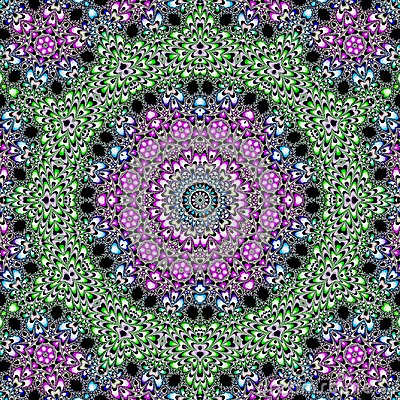 Psychedelic fractal kaleidoscope design on spheres and flowers made in green and violet colors on dark background
