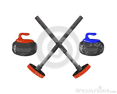Curling sport equpment: broom, stone and house on white background. Vector illustration.