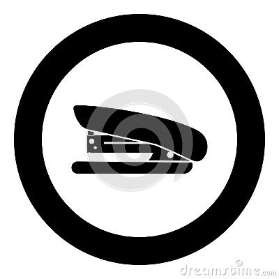 Stapler icon black color in circle