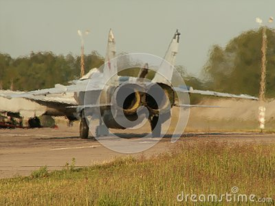 Russian aircraft Sukhoi Su-24 running on the takeoff strip. Rear jet engines view