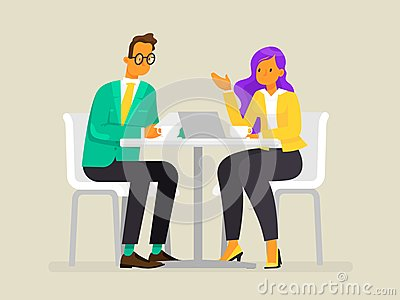 Conversation of business people. A man and a woman are discussing the project. Vector illustration