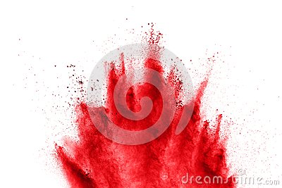 Abstract red powder explosion on  white background. abstract red dust splattered on background.