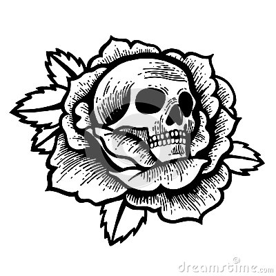 Old School Rose Tattoo With Skull