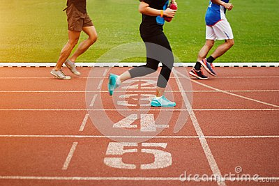 Running track number and athletics people running exercise