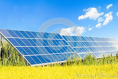 Solar power panels ,Photovoltaic modules for innovation green energy for life .