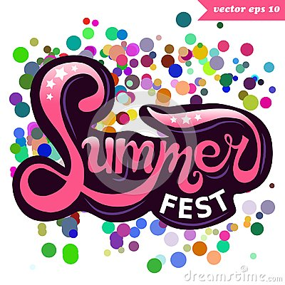 Summer fest colorful hand lettering