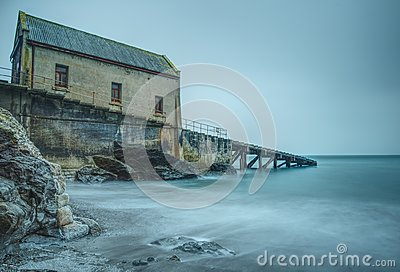 Long exposure. Disused lifeboat station at Polpeor Cove, Lizard Point, Cornwall