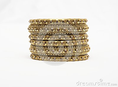 Asian Jewllery Gold bangals on a white background