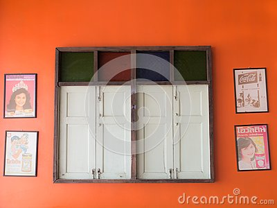Orange Old Home Vintage wall , Antique Wooden Top Stained Glass