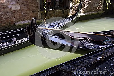 Gondolas with beautiful decoration in the Grand Canal