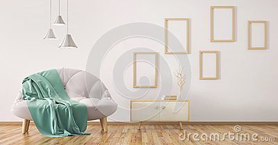 Interior design of modern living room with sofa 3d rendering
