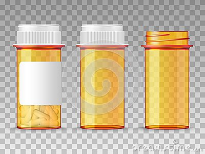Realistic vector medical orange pills bottle isolated on transparent background. Empty closed, opened, and with a blank