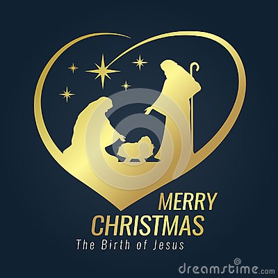 Merry Christmas banner gold sign with Nightly christmas scenery mary and joseph in a manger with baby Jesus and Meteor in heart si