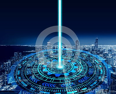 stock image of smart city and technology circles. graphic design in chicago